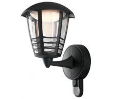 Lanterna Verso Alto Con Griglia Sensore Alluminio Nero Poicarbonato Led 12 Watt Luce Naturale Intec Lant-cloe/ap1a-s