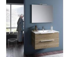Mobile Da Bagno Sospeso Con Lavabo Specchio E Lampada A Led Tft Luna Rovere Miele