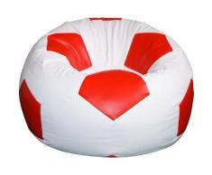 Poltrona A Sacco Pouf Ø100 Cm In Ecopelle Baselli Pallone Da Calcio Bianco E Rosso