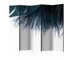 Paravento 5 Pannelli - Dark Blue Feather Ii 225x172cm Erroi
