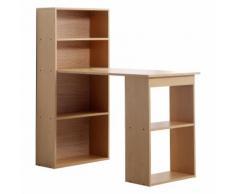 Scrivania Con Mensole Libreria In Legno Naturale 120x55x120 Cm Benzoni