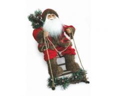 Pupazzo Babbo Natale Luminoso Con Slitta 6 Led In Stoffa H60 Cm Soriani Rosso