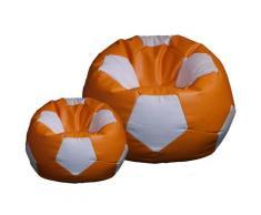 Poltrona A Sacco Pouf Ø100 Cm In Ecopelle Con Poggiapiedi Baselli Pallone Da Calcio Arancione E Bianco