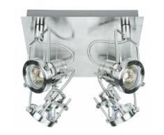 Faretto 4 Luci Spot Base Quadrata Metallo Cromato Led 12 Watt Gu10 Luce Calda Intec Spot-techno-pl4