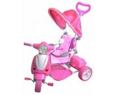 Triciclo A Spinta Seggiolino Reversibile Per Bambini Kids Joy Scooter Girl Rosa