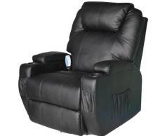 Poltrona Relax Massaggiante Riscaldabile In Ecopelle Nero Benzoni