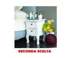Comodino Con 2 Cassetti 35x31x49,5 Cm In Legno Massello E Mdf Fumer Teo Bianco Seconda Scelta