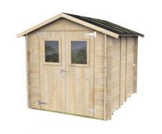 Casette Box Da Giardino In Legno Porta Utensili 198x248x215 Cm Con 2 Porte E Finestre Ecla Hobby