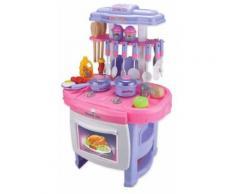Cucina Giocattolo Per Bambnini 62x27x42 Cm Con Utensilli Kids Joy Rosa