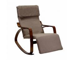 Sedia A Dondolo In Tessuto E Legno Con Cuscino E Poggiapiedi 67x130xh95cm Adami Crema