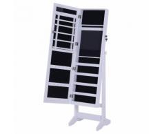 Armadio Portagioie A Specchio Con 20 Luci Led Bianco 40x37x146 Cm Benzoni