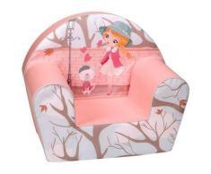 Poltroncina Per Bambini 33x40x55cm Tessuto Sfoderabile Con Bambina Miller Rosa