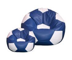 Poltrona A Sacco Pouf Ø100 Cm In Ecopelle Con Poggiapiedi Baselli Pallone Da Calcio Blu E Bianco