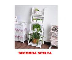 Portapiante Scaffale 4 Ripiani In Legno Massello 41x34x111,5 Cm Fumer Kelvin Bianco Seconda Scelta