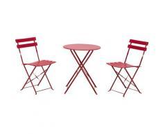Set Tavolino E 2 Sedie Pieghevoli Da Giardino In Acciaio Miozzi Rosso