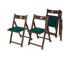 Set 4 Sedie Pieghevoli In Legno Seduta In Cotone Verde Del Fabbro Gioco