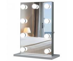 Specchio Da Tavolo Per Trucco Con 9 Luci Led 70x50x3 Cm Benzoni