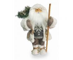 Pupazzo Babbo Natale Luminoso Con Aghi Di Pino 6 Led In Stoffa H46 Cm Soriani Bianco