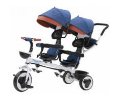 Passeggino Triciclo Gemellare Pieghevole Con Sedile Girevole 360° Kidfun Tricygò Blu