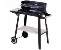 Barbecue A Carbone Carbonella Picnic Altezza Regolabile Nero 87x45x83 Cm Miozzi