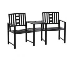 Panchina 2 Posti Da Giardino 165x53,5x85,5 Cm Con Tavolino In Metallo Nero