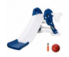 Scivolo Per Bambini 160x35x68 Cm Con Canestro E Pallone Basket Hmc Blu E Bianco
