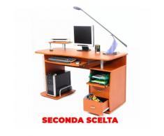 Scrivania Porta Pc 140x60xh77cm In Legno Con Cassettiera E Portatastiera My Office Scanner Ciliegio Seconda Scelta