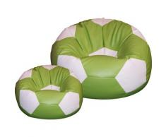 Poltrona A Sacco Pouf Ø100 Cm In Ecopelle Con Poggiapiedi Baselli Pallone Da Calcio Verde Limone E Bianco