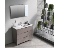Mobile Bagno Sospeso 100 Cm Lavabo Specchio E Lampada A Led Tft Marte Pietra Avana