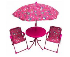 Set Tavolino + 2 Sedie Da Giardino Per Bambini Soriani Glamour Rosa