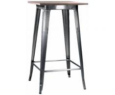 Tavolino Da Bar In Metallo Top Legno Adami Bristol Silver