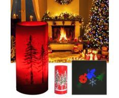 Candela Di Natale Led Con Proiettore 4 Effetti Di Luce Rosso Ø7x15 Cm Benzoni