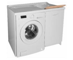 Lavatoio E Coprilavatrice 109x60x89cm Asse In Legno Montegrappa Edilla Bianco Destro Con Cesto