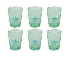Set 6 Bicchieri Ø8x10 Cm In Vetro Villa Deste Fish Verde Acqua