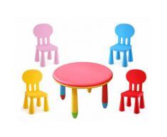 Tavolo Rotondo Ø 70 Cm Con 4 Sedie Per Bambini Plastica Kids Joy
