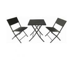 Set Tavolino E 2 Sedie Pieghevoli Da Giardino In Acciaio E Rattan Becker Nero