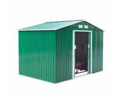 Casetta Box Da Giardino In Lamiera Verde 277x191x192 Cm Miozzi