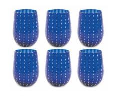 Set 6 Bicchieri Ø7x11 Cm In Vetro Villa Deste Shiraz Blu