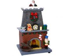 Babbo Natale Nel Camino In Resina Con Luci E Suoni 19,5x18,5x33 Cm Adami