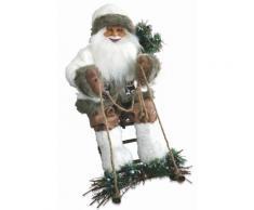 Pupazzo Babbo Natale Luminoso Con Slitta 6 Led In Stoffa H60 Cm Soriani Bianco