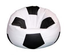 Poltrona A Sacco Pouf Ø100 Cm In Ecopelle Baselli Pallone Da Calcio Bianco E Nero