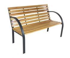 Panchina 2 Posti Da Giardino 120x62x82 Cm In Acciaio E Legno Di Abete