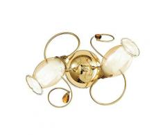 Plafoniera Lampada Classica Diffusore Floreale Vetro Decoro Cristallo K9 Struttura Metallo Oro E14 Ambiente I-ely/pl2