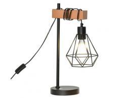 Lampada Da Comodino Con Paralume In Metallo E14 25x15x48 Cm Nera