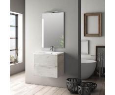 Mobile Da Bagno Sospeso Con Lavabo Specchio E Lampada A Led Tft Luna Rovere Naturale