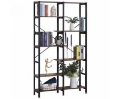 Libreria 6 Ripiani 100x30x182 Cm In Legno E Metallo Hmc Nera