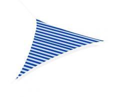 Tenda Vela Ombreggiante Triangolare 5x5x5m In Polietilene Strisce Blue E Bianco