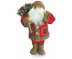 Pupazzo Babbo Natale Luminoso Con Aghi Di Pino 6 Led In Stoffa H46 Cm Soriani Rosso