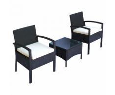 Set Salotto Da Giardino 2 Poltroncine E Tavolino Con Cuscini Rattan Sintetico Nero Miozzi
