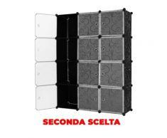 Armadio Guardaroba Modulare 12 Cubi 112x37x148 Cm Rizzetti Nero Con Ricamo Seconda Scelta